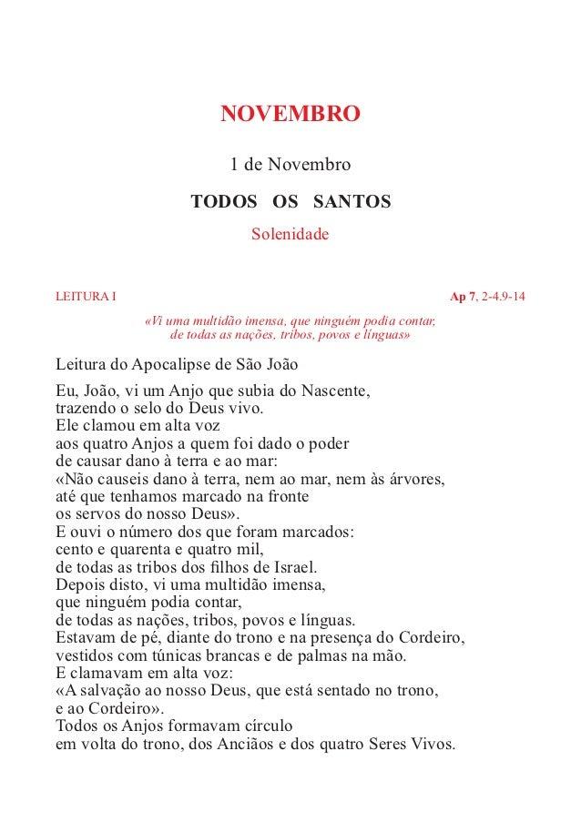 NOVEMBRO                           1 de Novembro                    TODOS OS SANTOS                               Solenida...