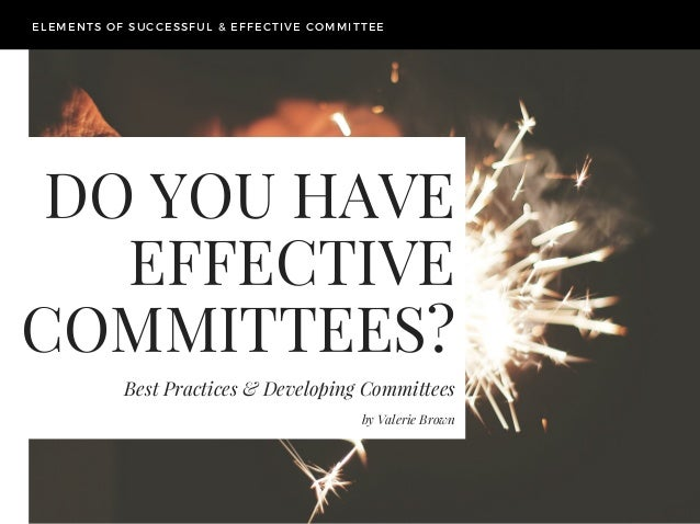 DO YOU HAVE EFFECTIVE COMMITTEES? Best Practices & Developing Committees ELEMENTS OF SUCCESSFUL & EFFECTIVE COMMITTEE by V...