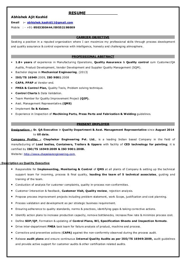 qa executive resume