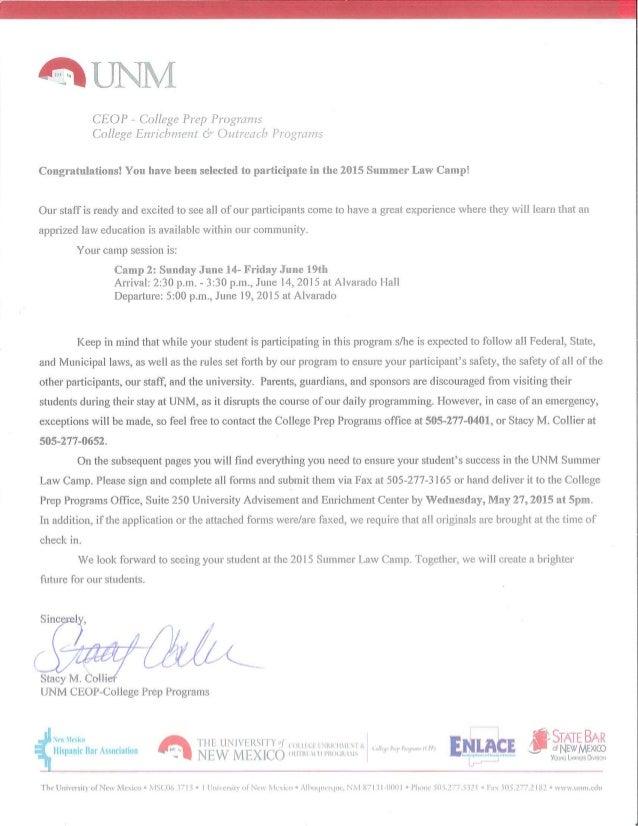 Summer Camp Acceptance Letter