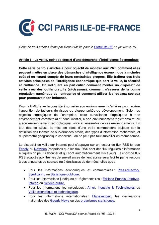 1 B. Maille - CCI Paris IDF pour le Portail de l'IE - 2015 Série de trois articles écrits par Benoît Maille pour le Portai...