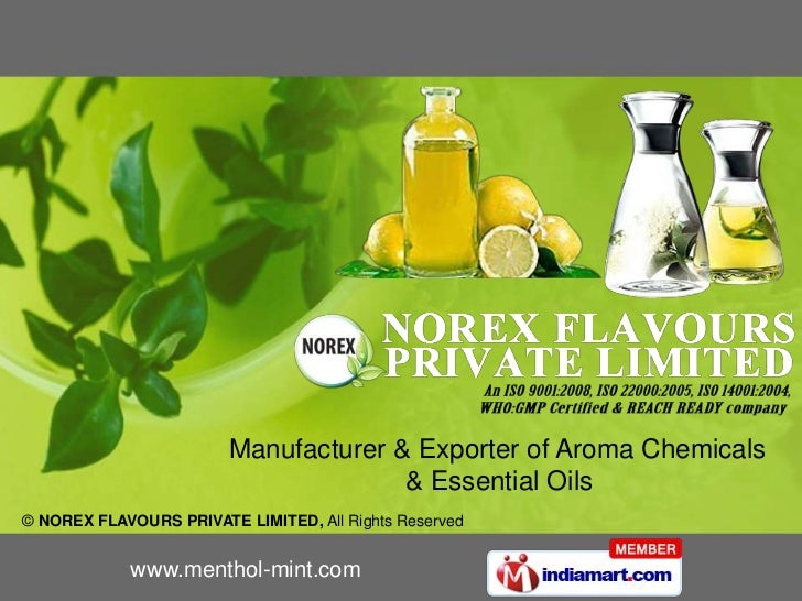 Manufacturer & Exporter of Aroma Chemicals   <br />       & Essential Oils<br />