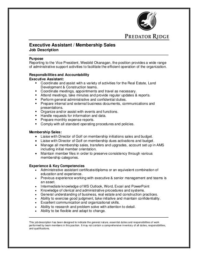 executive assistant membership sales job description purpose reporting to the vice president wesbild okanagan