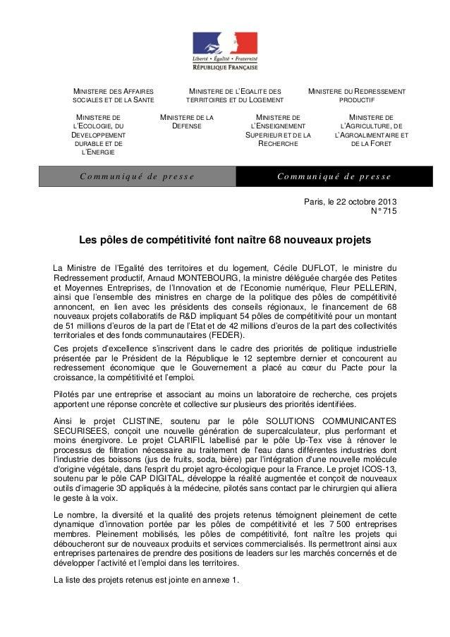 MINISTERE DES AFFAIRES SOCIALES ET DE LA SANTE MINISTERE DE L'ECOLOGIE, DU DEVELOPPEMENT DURABLE ET DE L'ENERGIE  MINISTER...
