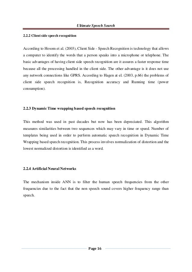 latest research papers on speech recognition Linguistics research department, at&tbell vanced speech recognition technology thetwo papers com- enormous effect on the ultimate fate of speech recognition.