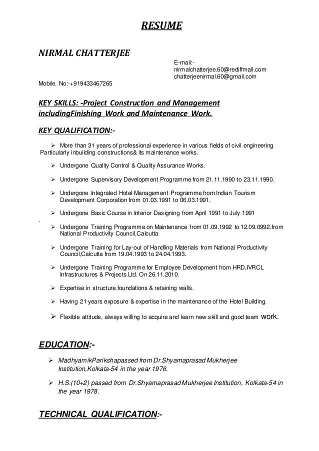 Key Skills Civil Engineer Resume Resume Example 2018