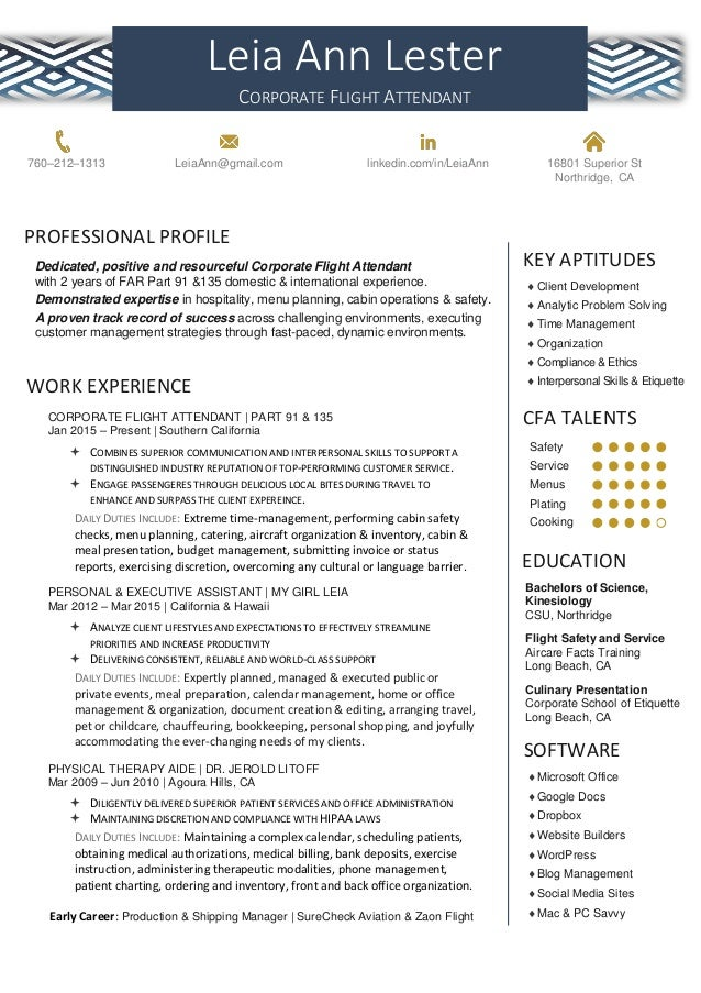 Leia Lester Corporate Flight Attendant Resume