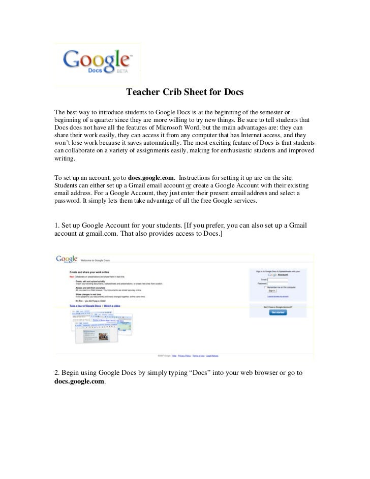 Teacher Crib Sheet for DocsThe best way to introduce students to Google Docs is at the beginning of the semester orbeginni...