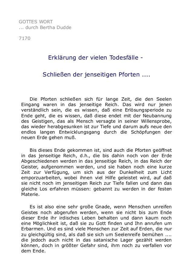 GOTTES WORT  ... durch Bertha Dudde  7170  Erklärung der vielen Todesfälle -  Schließen der jenseitigen Pforten ....  Die ...