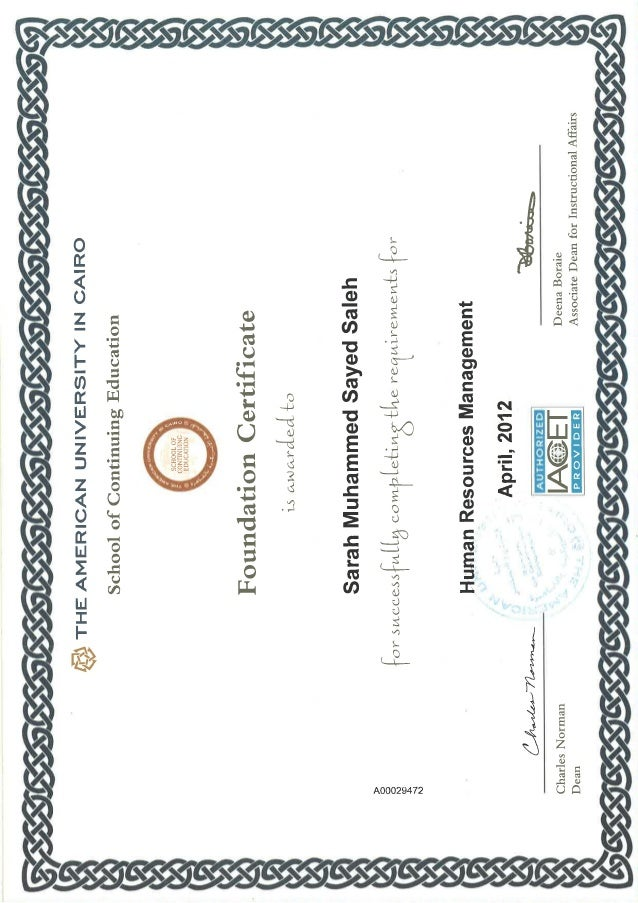 Hrm Foundation Career Certificates From The Auc