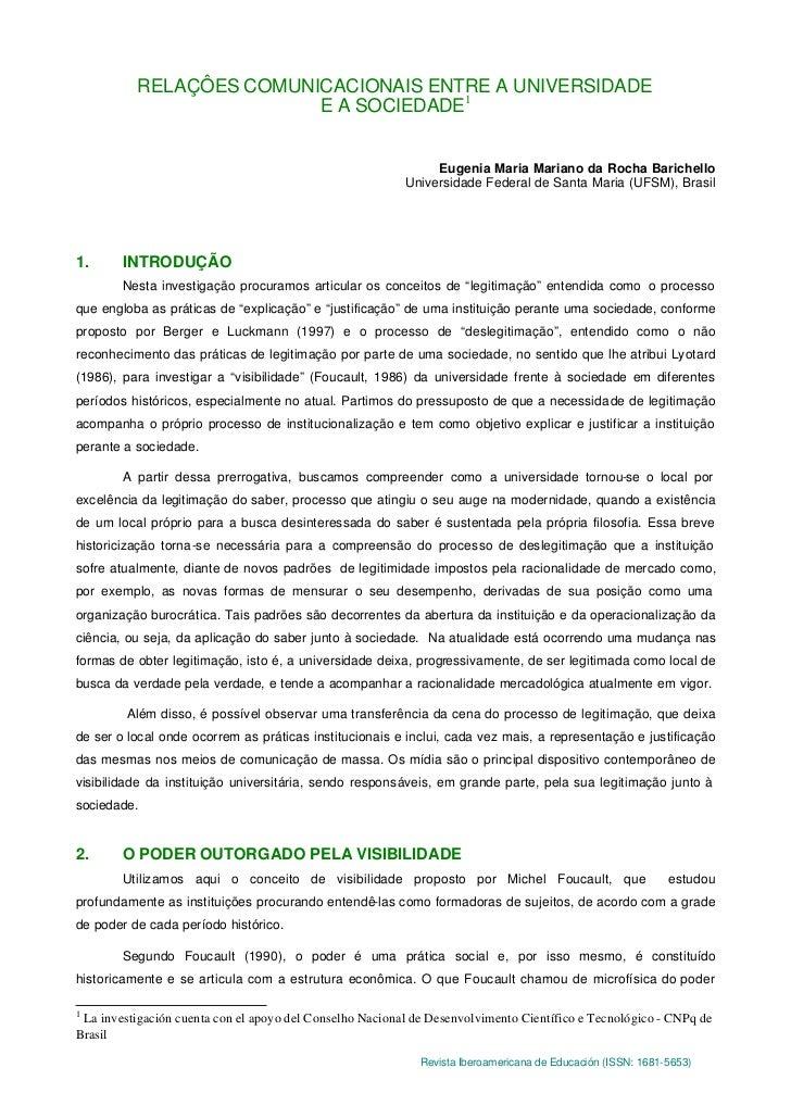 RELAÇÔES COMUNICACIONAIS ENTRE A UNIVERSIDADE                         E A SOCIEDADE1                                      ...