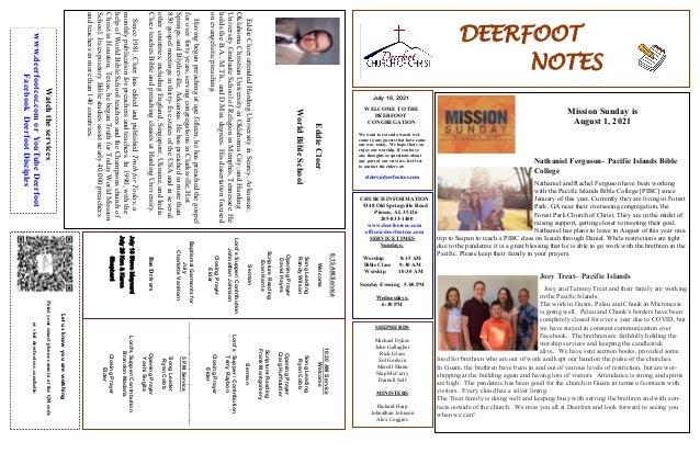 Deerfoot Church of Christ 7 18 2021