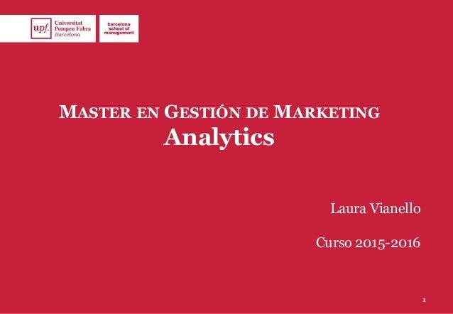 MASTER EN GESTIÓN DE MARKETING Analytics Laura Vianello Curso 2015-2016 1