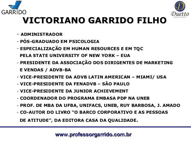 VICTORIANO GARRIDO FILHO- ADMINISTRADOR- PÓS-GRADUADO EM PSICOLOGIA- ESPECIALIZAÇÃO EM HUMAN RESOURCES E EM TQC PELA STATE...