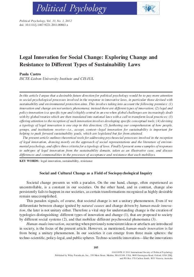 Political Psychology, Vol. 33, No. 1, 2012doi: 10.1111/j.1467-9221.2011.00863.xLegal Innovation for Social Change: Explori...