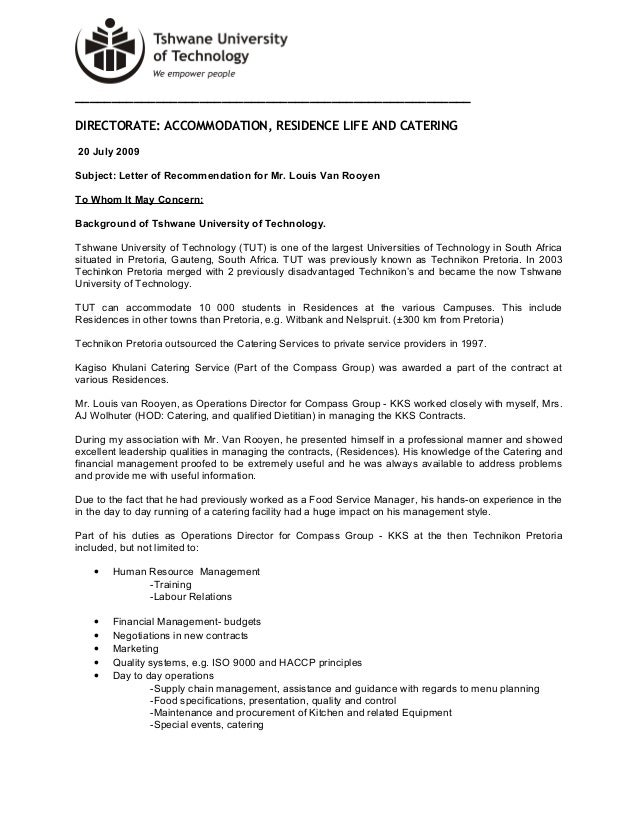 Tut reference letter directorate accommodation residence life and catering 20 july 200 expocarfo