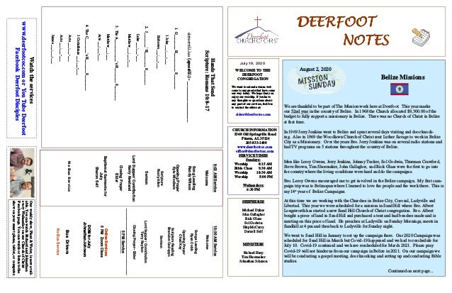 DEERFOOTDEERFOOTDEERFOOTDEERFOOT NOTESNOTESNOTESNOTES July 19, 2020 WELCOME TO THE DEERFOOT CONGREGATION We want to extend...