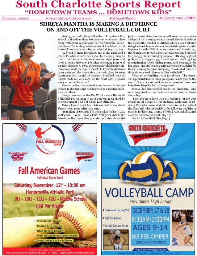 "South Charlotte Sports Report ""HOMETOWN TEAMS ... HOMETOWN KIDS"" Volume 11, Issue 11 October 27, 2016 - FREEwww.southcharl..."