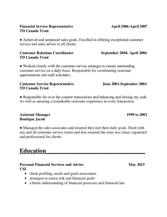 financial customer service representative resume