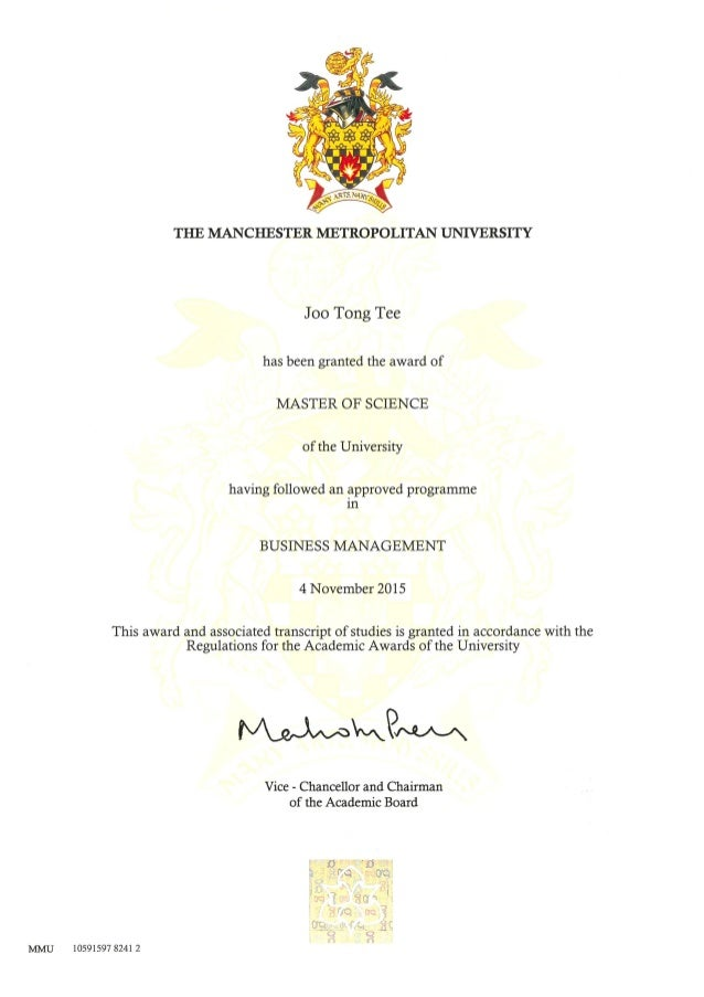 Mmu Certificate 2015 Business Management