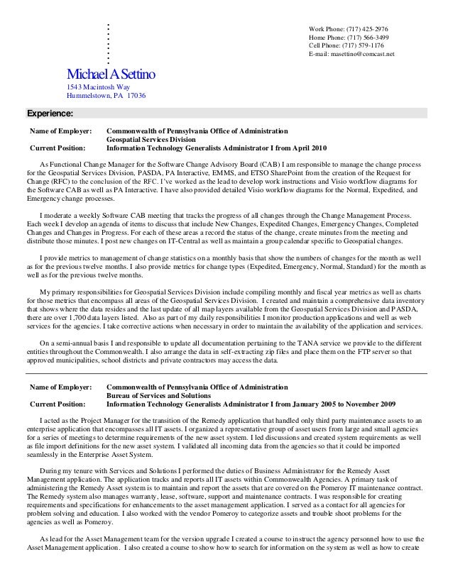 Mike Settino Resume Work History