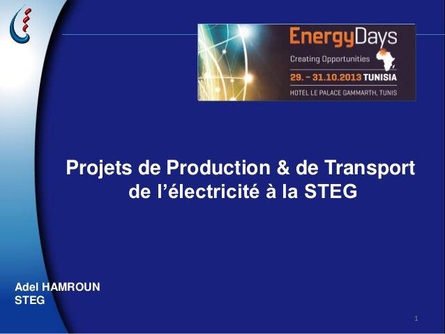1 Projets de Production & de Transport de l'électricité à la STEG Adel HAMROUN STEG