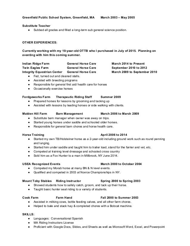 Dorable Horse Farm Manager Resume Photo - Best Resume Examples by ...