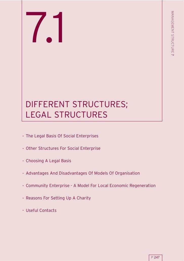 MANAGEMENT STRUCTURE 7  7.1  DIFFERENT STRUCTURES;  LEGAL STRUCTURES  . The Legal Basis Of Social Enterprises  . Other Str...