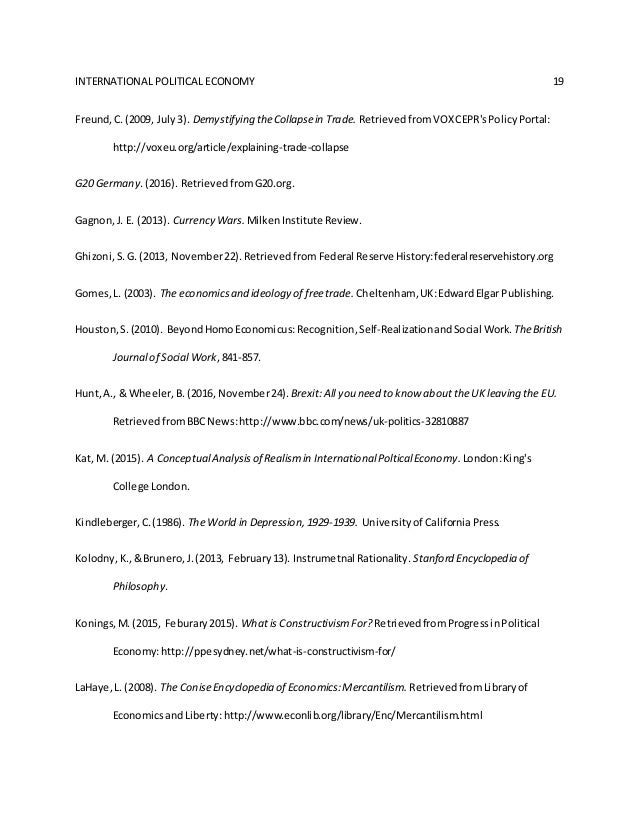 Economics and International Relations