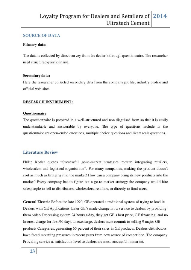 literature review of ultratech cement