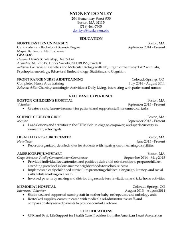 co op resume clinical
