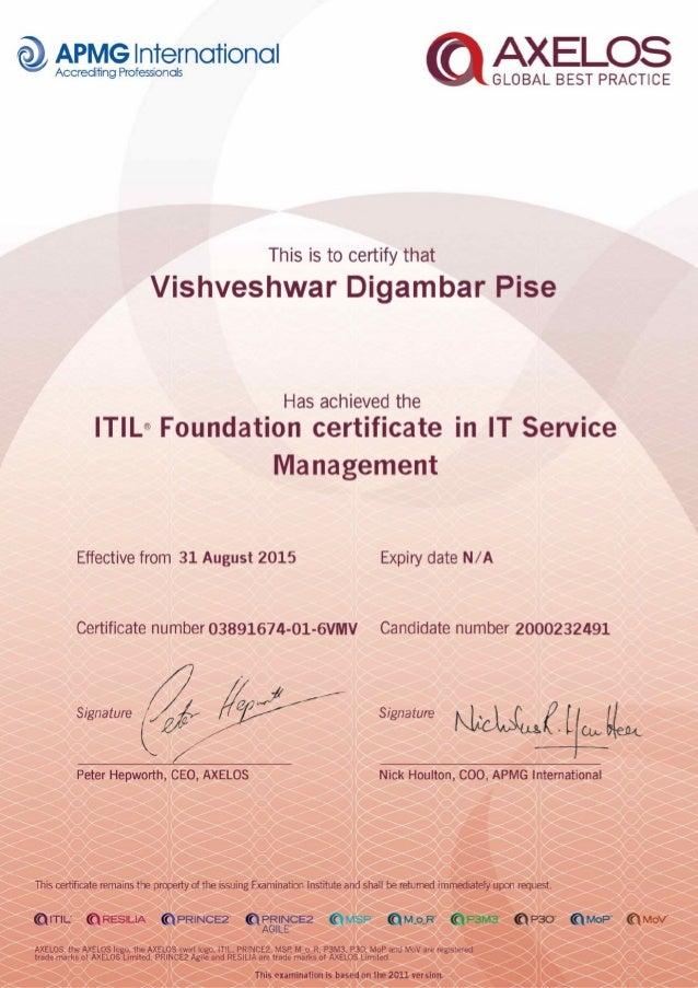 Itil V3 Certificate