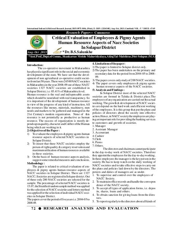 72 RESEARCH ANALYSIS AND EVALUATION International Indexed & Refereed Research Journal, ISSN 0975-3486, (Print), E- ISSN -2...
