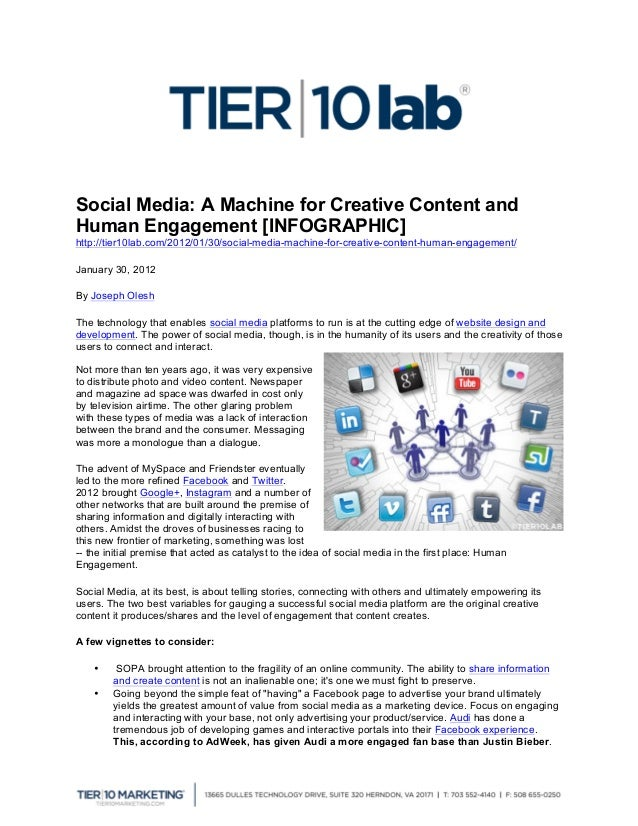 Social Media: A Machine for Creative Content and Human Engagement [INFOGRAPHIC] http://tier10lab.com/2012/01/30/soc...
