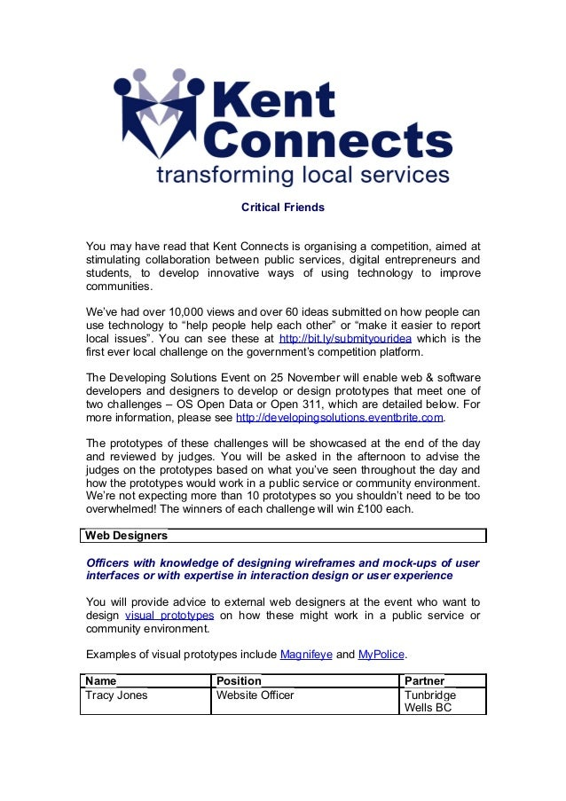 Critical FriendsYou may have read that Kent Connects is organising a competition, aimed atstimulating collaboration betwee...