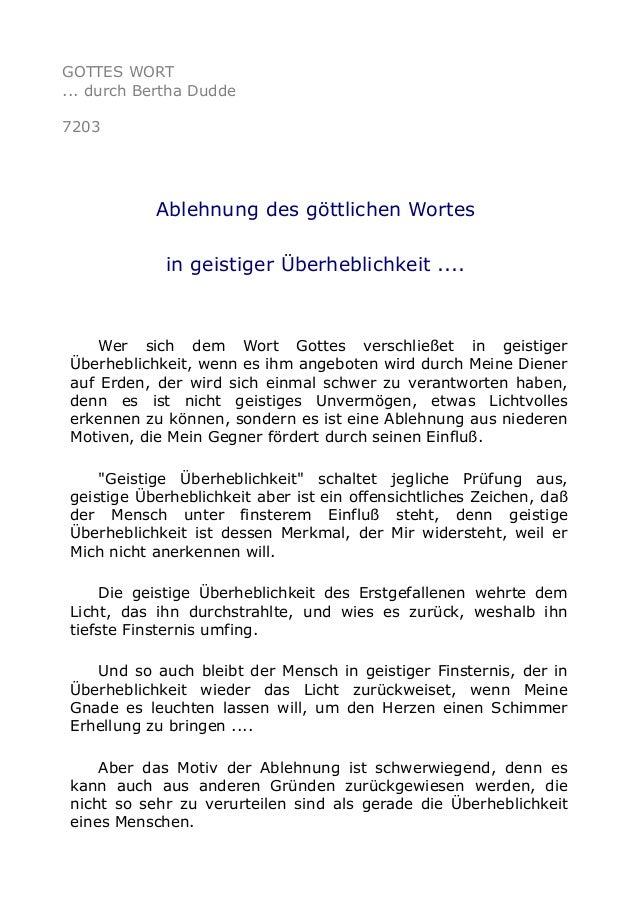 GOTTES WORT  ... durch Bertha Dudde  7203  Ablehnung des göttlichen Wortes  in geistiger Überheblichkeit ....  Wer sich de...