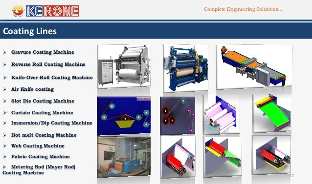 Complete Engineering Solutions… 12 Coating Lines  Gravure Coating Machine  Reverse Roll Coating Machine  Knife-Over-Rol...