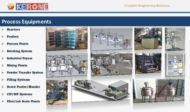 Complete Engineering Solutions… Process Equipments  Feeders  Mixing Plants  Reactors  CIP/SIP Systems  Batching Syste...