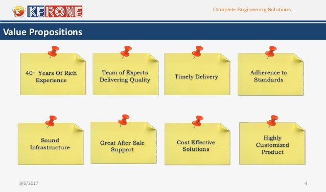 Complete Engineering Solutions… Value Propositions 9/6/2017 4 40+ Years Of Rich Experience Timely Delivery Adherence to St...
