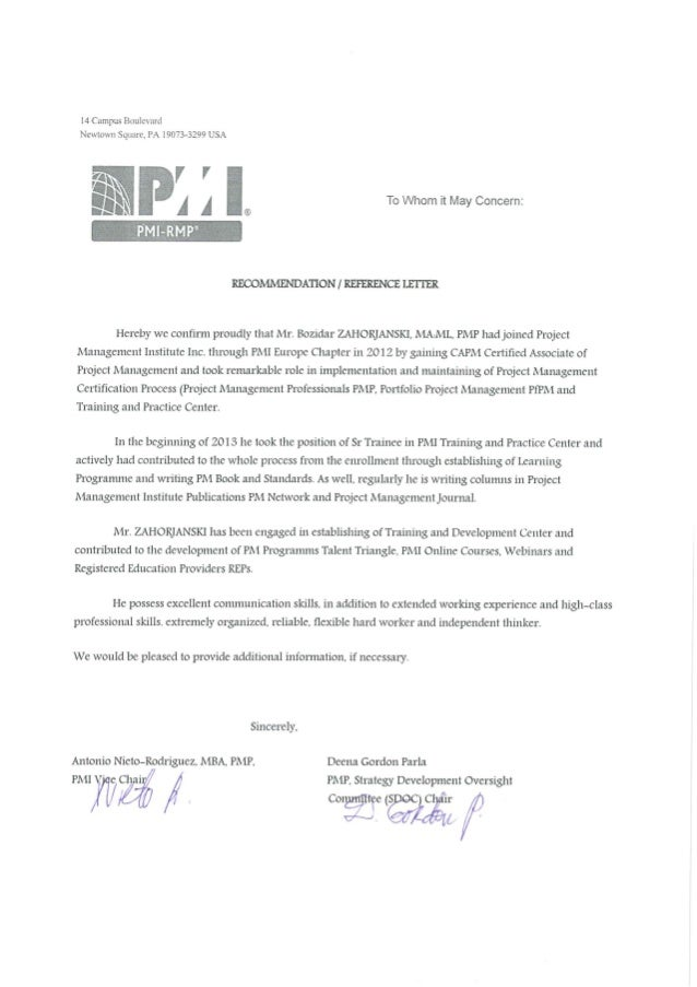 Bz Pmi Project Management Institute Letter Of Reference Certificate