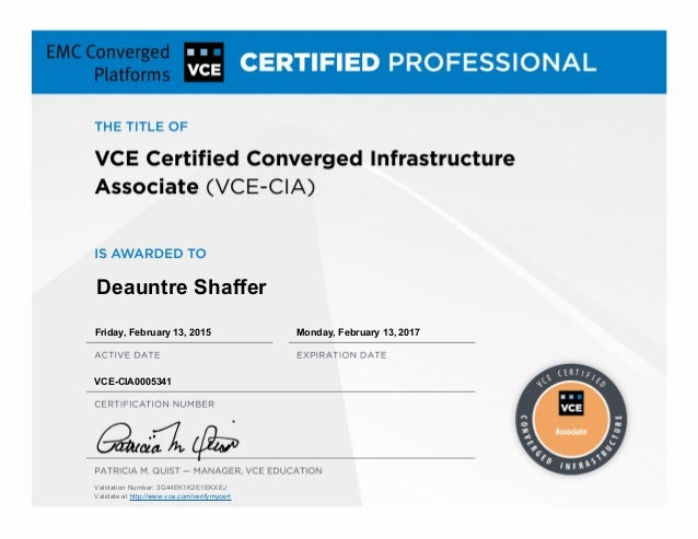 Vce Certified Converged Infrastructure Associate Certificate 1