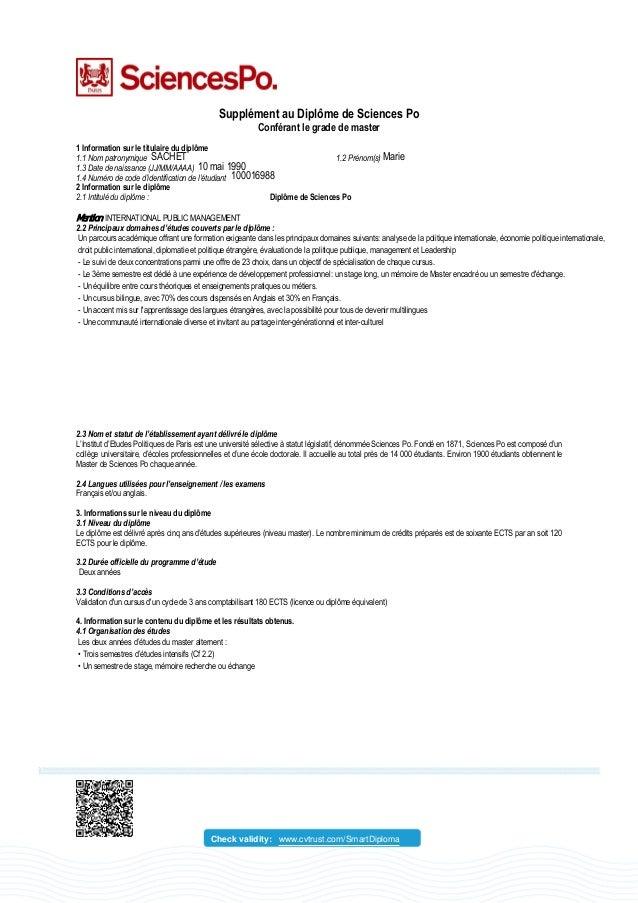 Supplément au Diplôme de Sciences Po Conférant le grade de master 1 Information sur le titulaire du diplôme 1.1 Nom patron...