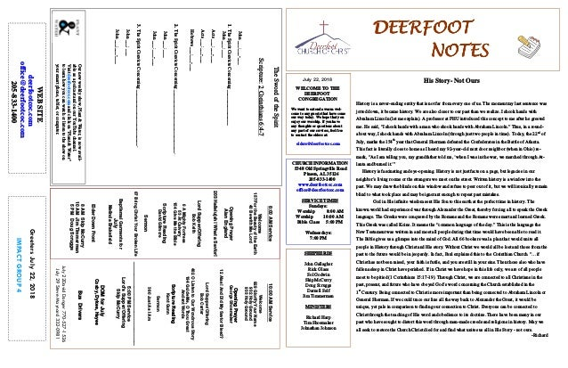 July 22, 2018 GreetersJuly22,2018 IMPACTGROUP4 DEERFOOTDEERFOOTDEERFOOTDEERFOOT NOTESNOTESNOTESNOTES WELCOME TO THE DEERFO...