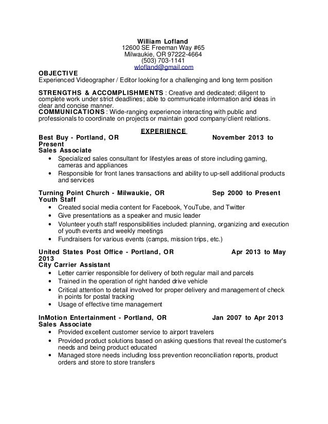 Videographer Resume Objective