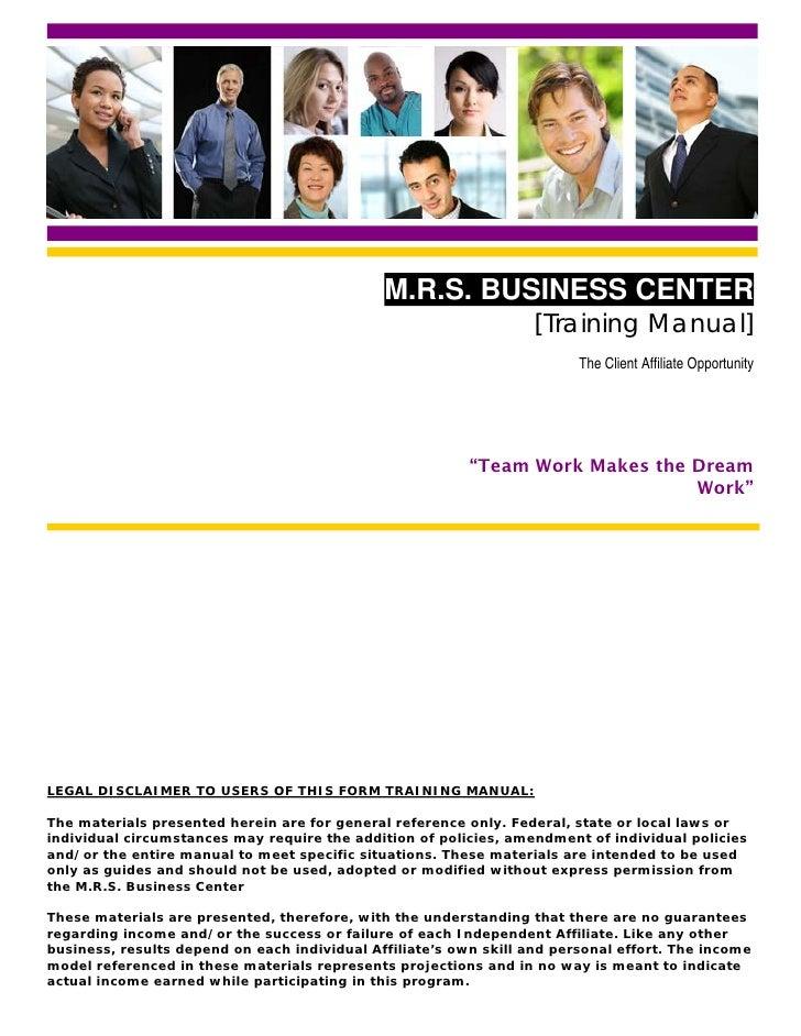 M.R.S. BUSINESS CENTER                                                                    [Training Manual]               ...