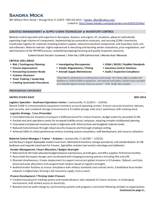 Sandra Mock Logistics Manager Resume 2014