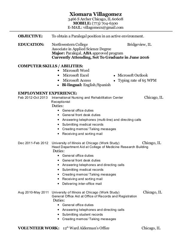 Charming Paralegal Resume. Xiomara Villagomez 3466 S Archer Chicago, IL 60608  MOBILE: (773) 704  ...  Paralegal Skills Resume