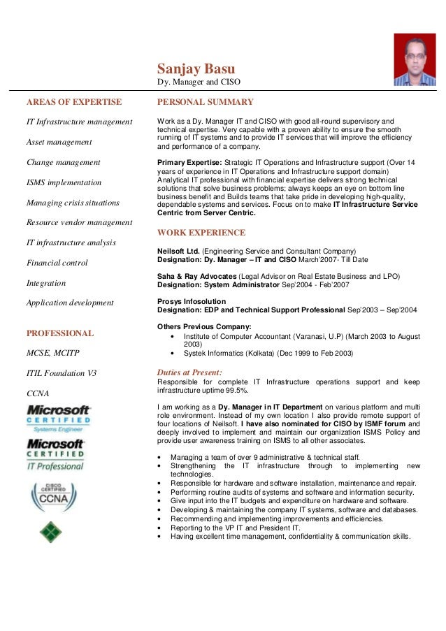 best it infrastructure management resume images resume