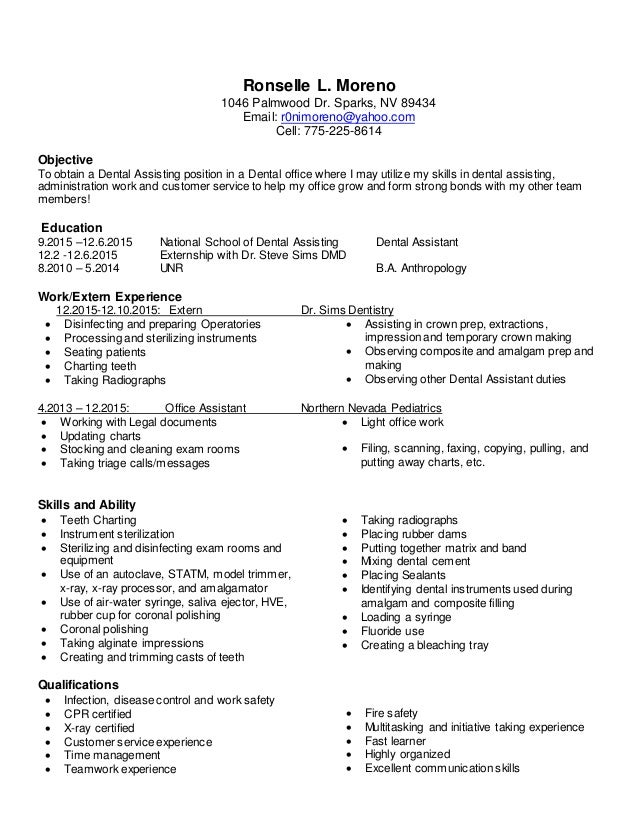sincerely ronselle moreno 2 - Dental Assistant Duties For Resume