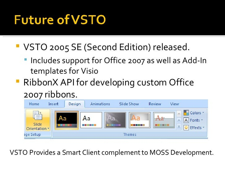 7 24 2007 presentation visual studio tools for office - Visual studio tools for office ...